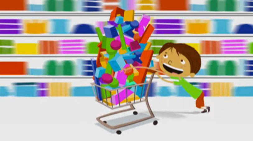 smiling cartoon child with a full shopping cart